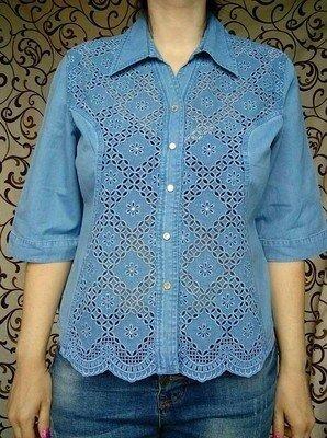 Шикарная Натуральная Джинсовая Рубашка На Пышную Модницу все лейбочки с голограммой