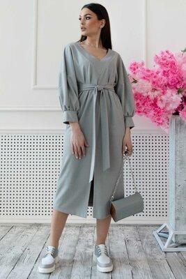 Серое замшевое платье миди   49845