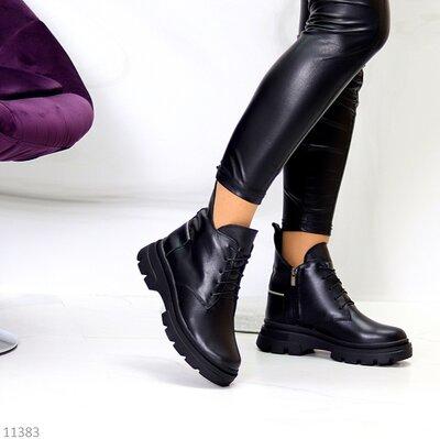 Женские натуральные кожаные демисезонные чёрные ботинки на шнуровке на низком ходу