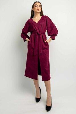 Замшевое платье марсала | 49859