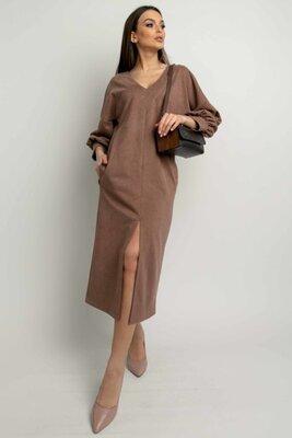 Замшевое платье капучино миди | 49874