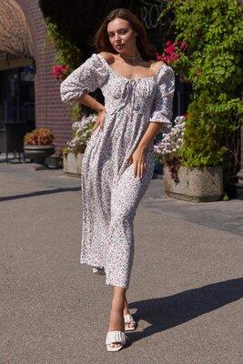 Белое платье с лёгким цветочным принтом | 50570