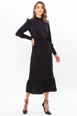 Черное платье с длинным рукавом | 49926