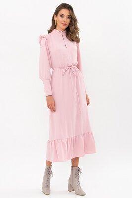 Пудровое платье с длинным рукавом | 49936