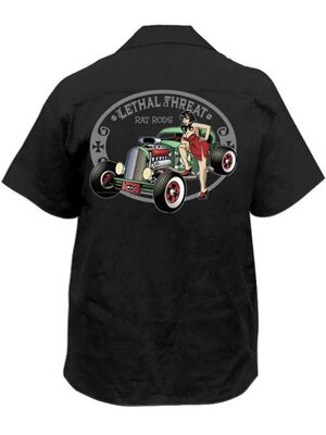 Рубашка байкерская с вышивкой Rat Rod Pin Up Girl Lethal Threat р.XXL USA Original