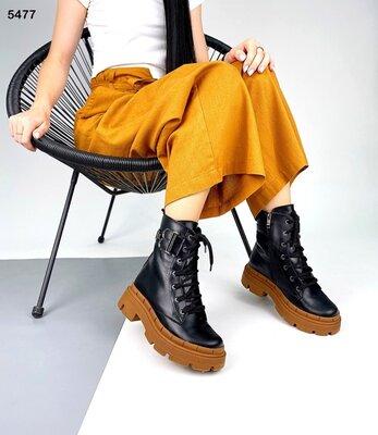 Женские натуральные кожаные лакированные чёрные бежевые ботинки на шнуровке на тракторной подошве