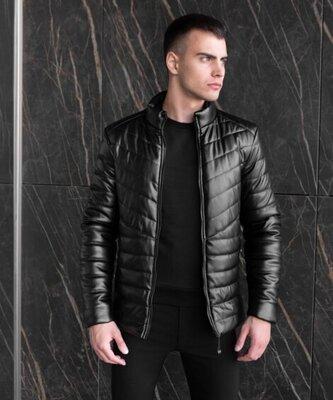 Продано: Мужская куртка, бомбер, в черном цвете с эко-кожи, весна-осень