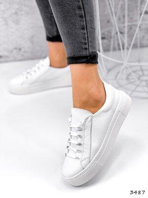 Кожаные кроссовки 36-41рр. Черные и белые.