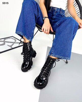 Женские натуральные замшевые кожаные лакированные ботинки на шнуровке на тракторной подошве