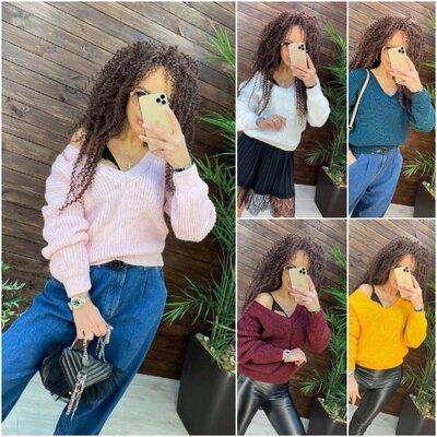 Свитер - 11 цветов, свитер oversize, свитер мыс, теплый женский свитер арт 17010