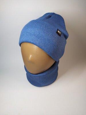 Базовый двойной хлопковый набор в рубчик шапка и снуд 50-56