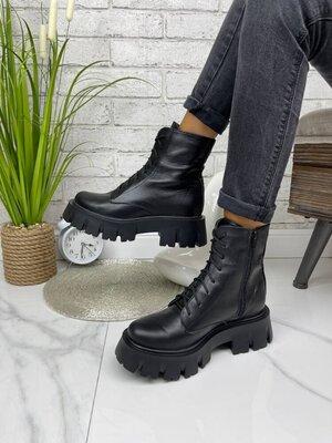 Ботинки 36-41 натуральная кожа демисезонные черные замш на шнурках