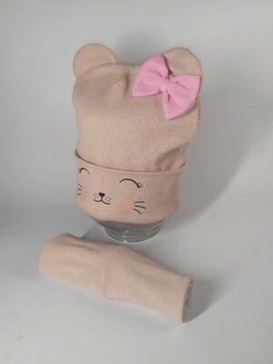 Набор рубчик шапка и хомут для девочки с ушками 44-50