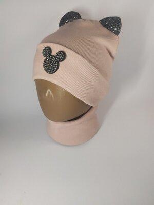 Набор рубчик шапка и хомут для девочки с ушками 48-54