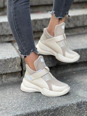 Продано: Удобные ботинки из натуральной кожи/замши. Утеплитель байка. Код к126 беж