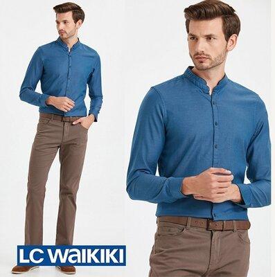 Синяя мужская рубашка LC Waikiki/ЛС Вайкики с воротником-стойкой