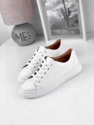 Белые кожаные кеды.Базовые кроссовки.Натур.кожа.Бiлi кросiвки