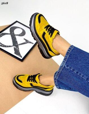 Женские натуральные кожаные замшевые кроссовки на высокой подошве