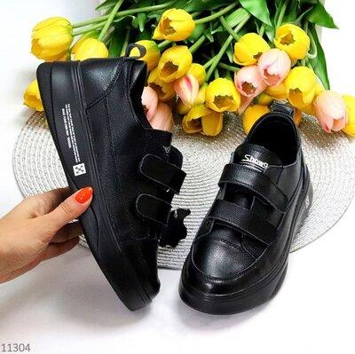 Черные кожаные женские кроссовки кеды на липучках, кожаные кеды Mary, 36,38,39,41р код 11304