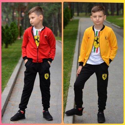 Костюм спортивный р-р 32-40 ferrari с 3 предметов, желтый и красный