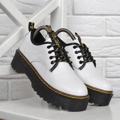Ботинки женские кожаные Dr.Martens style на платформе белые