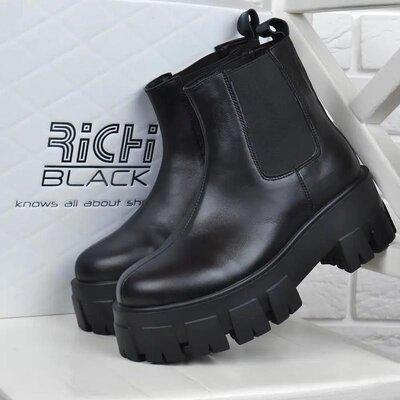 Ботинки женские кожаные richi black на платформе демисезонные