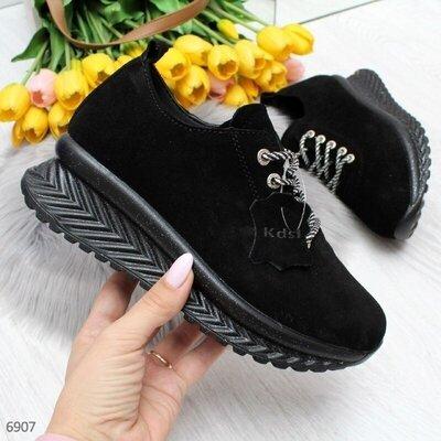 Черные замшевые кроссовки, женские кожаные кроссовки, жіночі кросівки 36,38-41 код 6907
