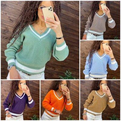 Свитер v-вырез 6 цветов, стильный свитер, свитер полоска, теплый свитер арт 17014