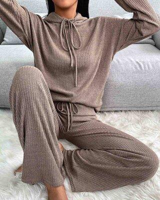 р.42-46,48-52 Стильный костюм женский, рубчик, ангора 5383F