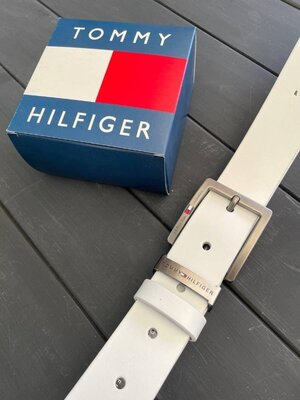 Белый мужской кожаный ремень Tommy Hilfiger Томми Хилфигер реплика