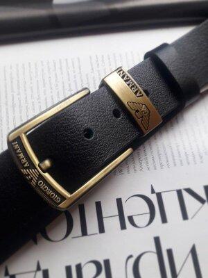 Мужской кожаный ремень Armani реплика черный