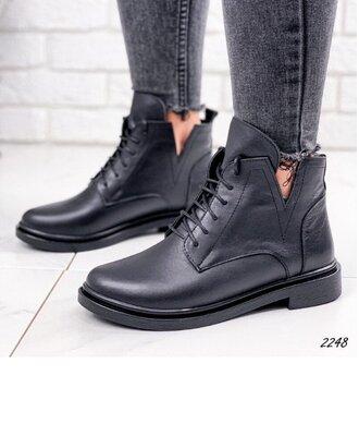 Кожаные женские ботинки на низком ходу, женские кожаные ботинки шкіряні черевики 38,40р код 2248