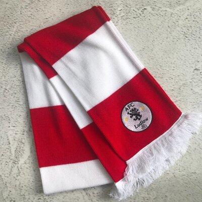Двойной шарф, красно белый, британского бренда Arena Scarves, в стиле ретро. 158х16