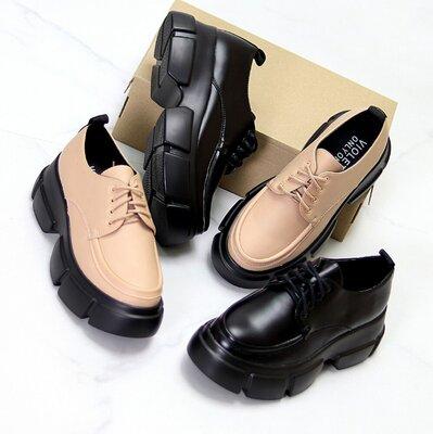 Туфли ботинки женские броги черные бежевые