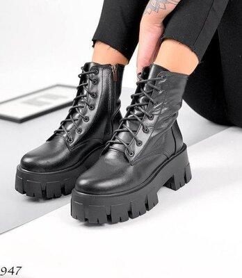 Кожаные женские ботинки демисезон женские ботинки prada monolith шкіряні черевики 38р-24.5 код 11947