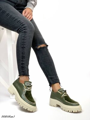 Женские натуральные кожаные замшевые туфли броги на шнуровке