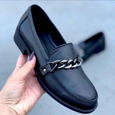 Стильные кожаные туфли с цепочкой