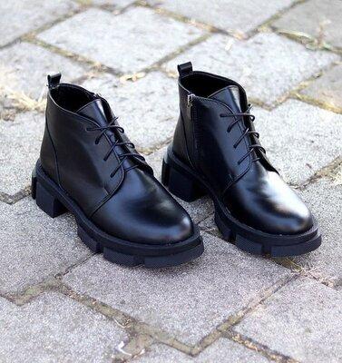 Кожаные женские ботинки на толстой подошве, женские кожаные ботинки шкіряні черевики 37-40р код 8750