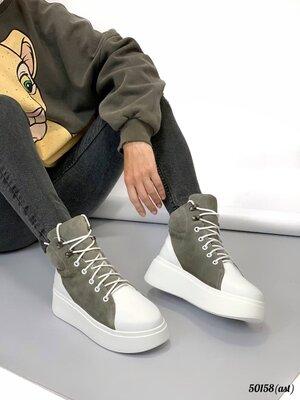 Женские натуральные кожаные замшевые ботинки хайтопы на шнуровке на высокой подошве