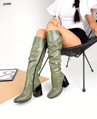 Женские натуральные кожаные сапоги сапожки на устойчивом каблуке