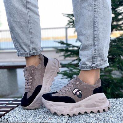 Женские натуральные кожаные замшевые чёрные белые бежевые кроссовки на высокой массивной подошве