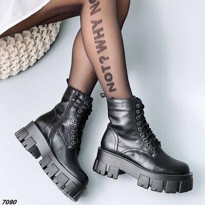 Женские натуральные кожаные демисезонные чёрные ботинки на шнуровке на тракторной подошве