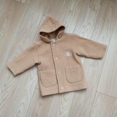Песочное шерстяное пальто с рукавом 3/4, oversize, на 4-5 лет