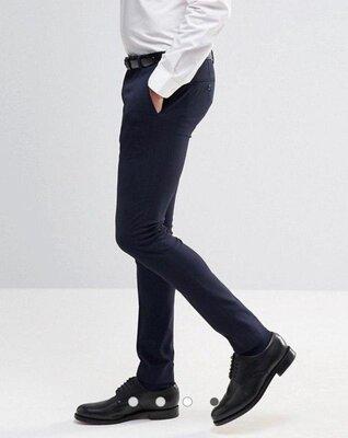 Качественные темно синие классические костюмные мужские брюки со стрелками asos