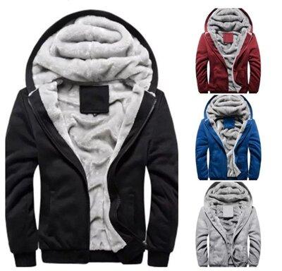 Мужская теплая кофта на меху утепленная, с капюшоном и карманами
