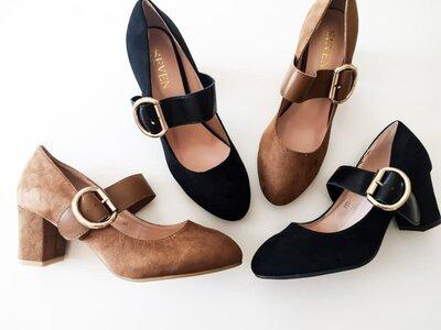 Туфли женские черные бежевые на низком каблуке