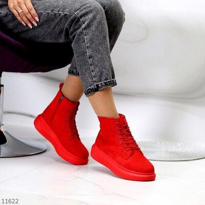 Женские демисезонные синие белые чёрные красные ботинки хайтопы на шнуровке