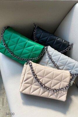 Женские стеганые сумки на цепочке в расцветках Жіночі стьобані сумки 4 кольори