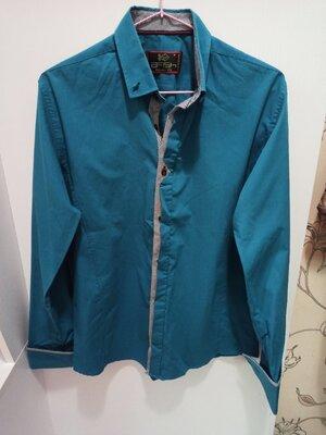 Стильная мужскую рубашку цвет морской волны