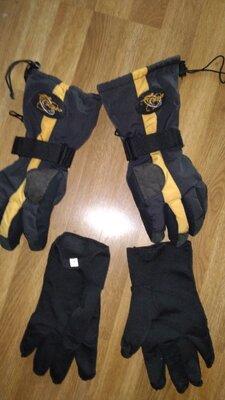 Перчатки лыжные мужские S с флисовой вставкой